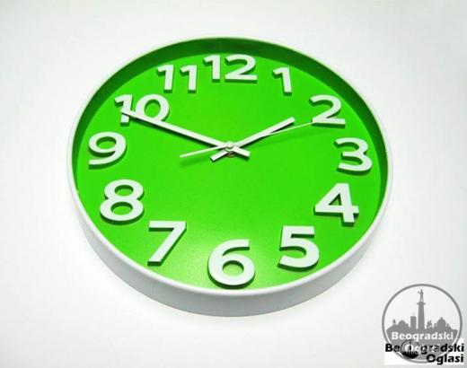 Prelep ZELENI zidni sat okrugli -NOVO