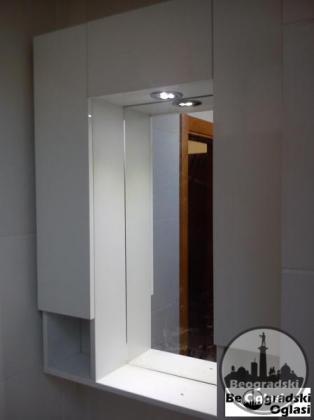 Kupatilski viseci deo sa troja vrata+LED svetlo+ogledalo/70x100x17(NOVO)