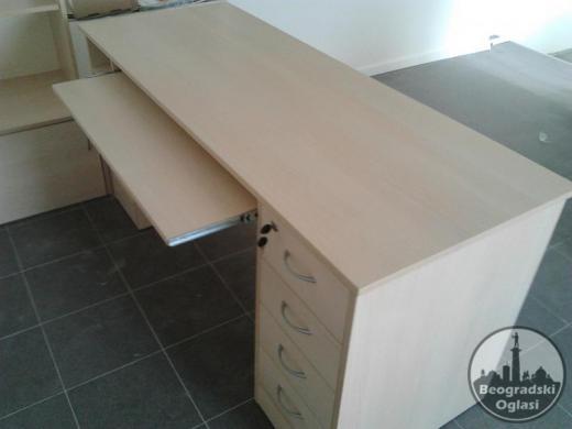 Sto za ucenje 150cm sa 4 fioke+box sa vratima(beli)