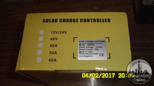 REGULAR-KONTROLER punjenja  solarnih sistema 12V-24V-50A NOVO-NEKORISCENO