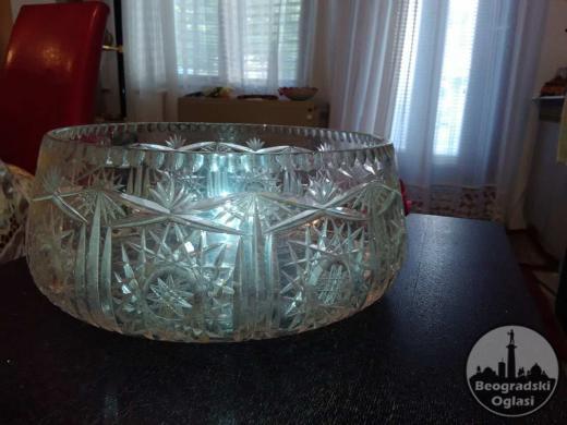 Češki kristal ručno brušen - tacna 34cm x 18cm.