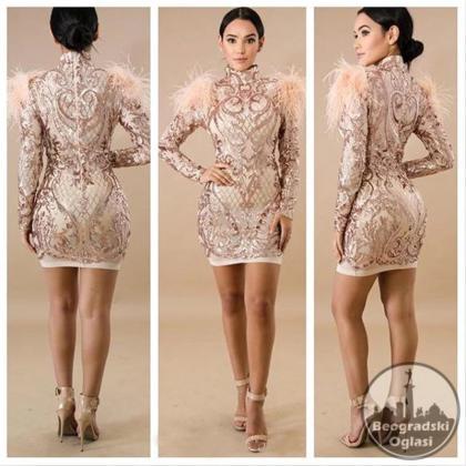 Svecana haljina sa paperjem i sljokicama S,M,L,XL