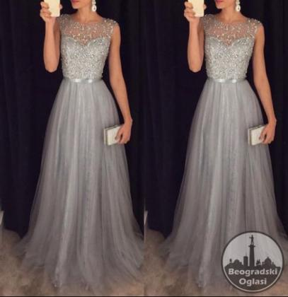 Srebrna svecana haljina S,M,L,XL