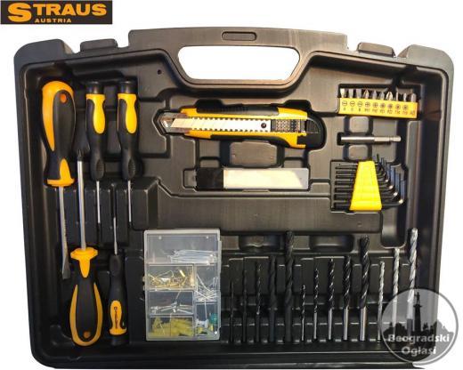 STRAUS akumulatorska bušilica 24V + dodaci sa LED kućištem, 2 baterije Litij-Ionska, 150 delova dodataka ST/CD24-150