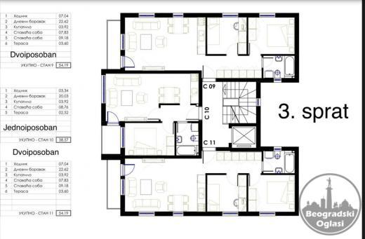 Najpovpljnija ponuda novih stanova u Mirijevu dvoiposobni sa pdvom