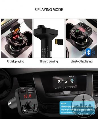 V2 - Bluetooth Auto Car Kit USB punjač MP3 Handsfree FM