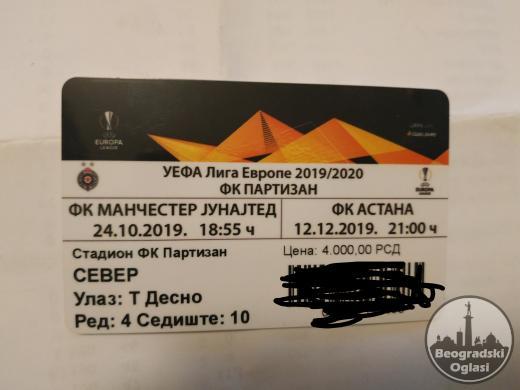 Karta za utakmicu partizan astana