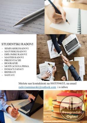 Seminarski, maturski, diplomski radovi, prezentacije, eseji, studije slučaja