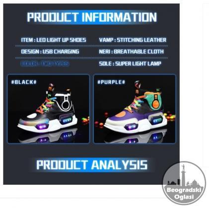 Svetlece USB decije patike za decake i devojcice W.w