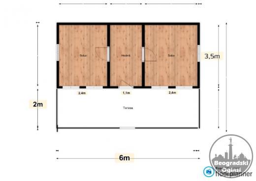 Brvnare FUL1 21m2 + trem 12m2 - hodnik i 2 prostorije