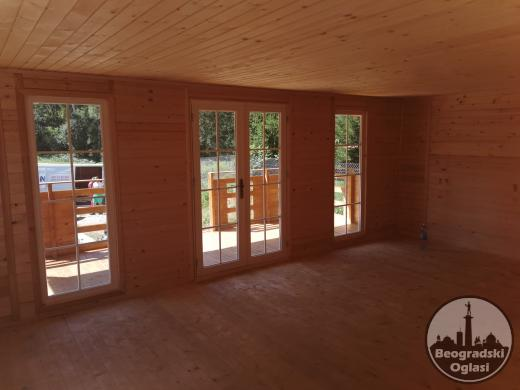 Montazne kuce od drveta PRO-5 -  6x4,5m - 27m2+2m terasa - ima kupatilo