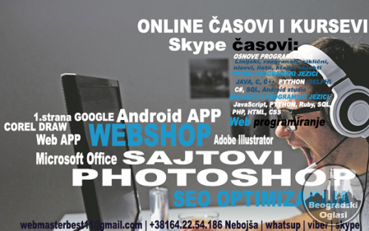 ONLINE programiranje, KURS skype, SHOPOVI, sajtovi